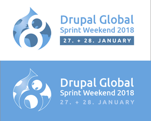 Drupal 8 signet as a globe + Drupal Global Sprint Weekend 2018, Date in byline